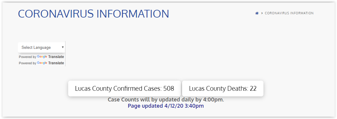 Lucas County COVID-19 Numbers April 12, 2020  – Easter Day
